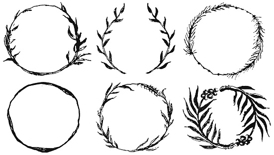 Set of round frames, doodle hand drawn decorative wreaths with branches, herbs, plants, leaves and flowers, florals. Vector Illustration.
