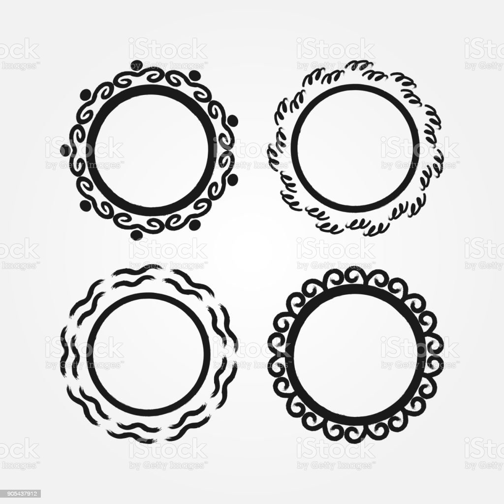 Set of round frames drawn by hand with a brush. Doodle, sketch, grunge. vector art illustration