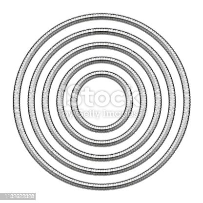 Set of round frames made of shower hoses. Vector template illustration for banners, flyers, invitations or greeting cards isolated on white background.