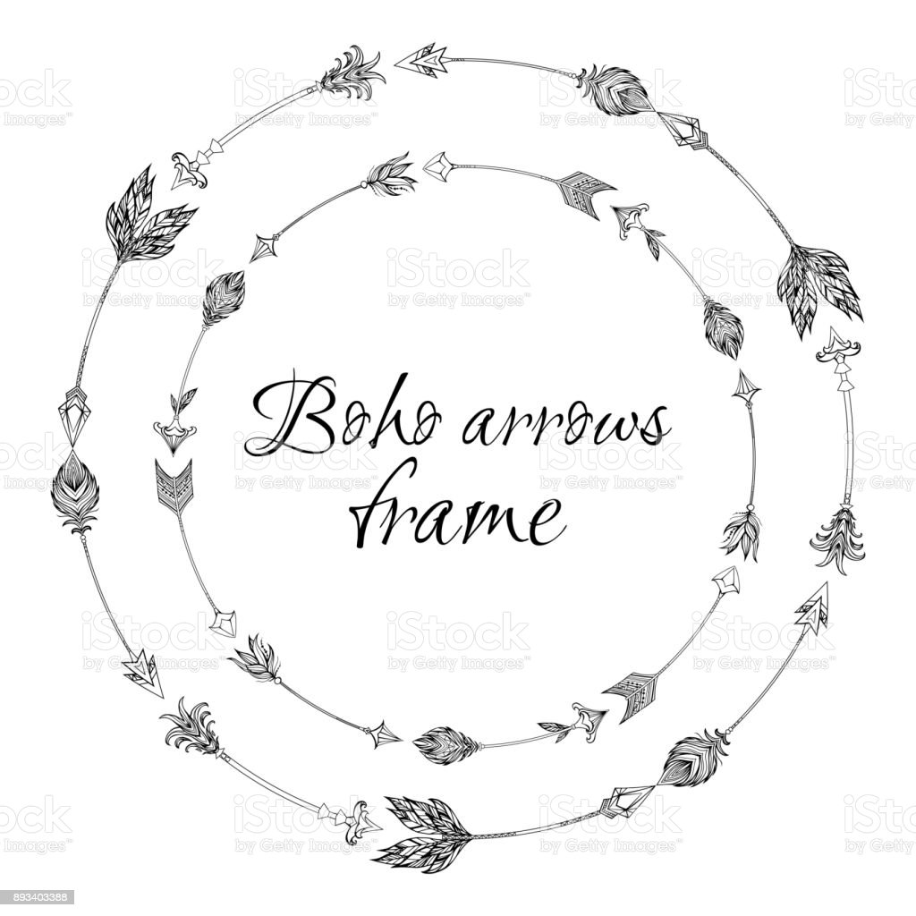 Set Of Round Frames With A Boho Arrows With Different Tips And ...