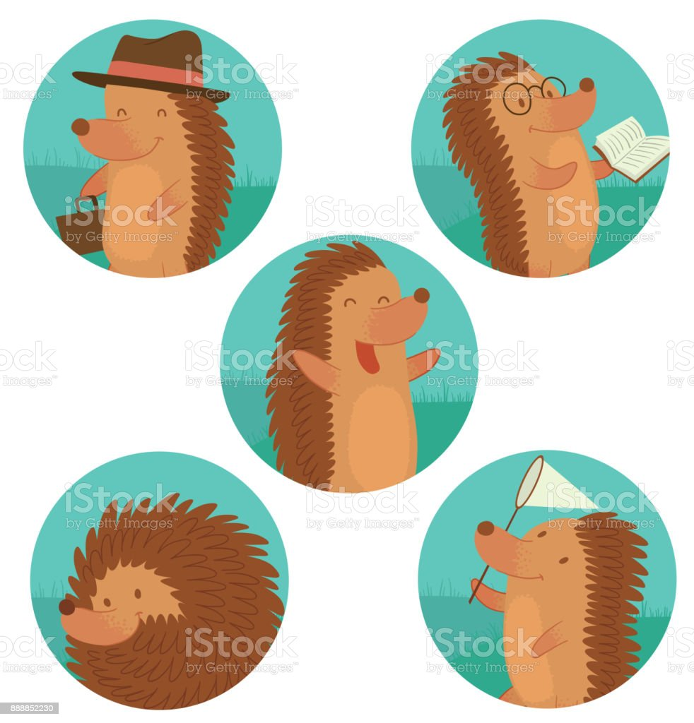 Set of round frames with funny brown hedgehogs vector art illustration