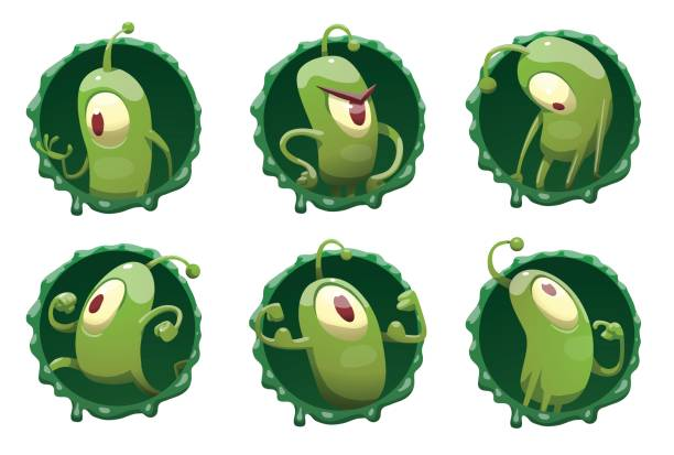 Set of round frames with funny green microbes vector art illustration