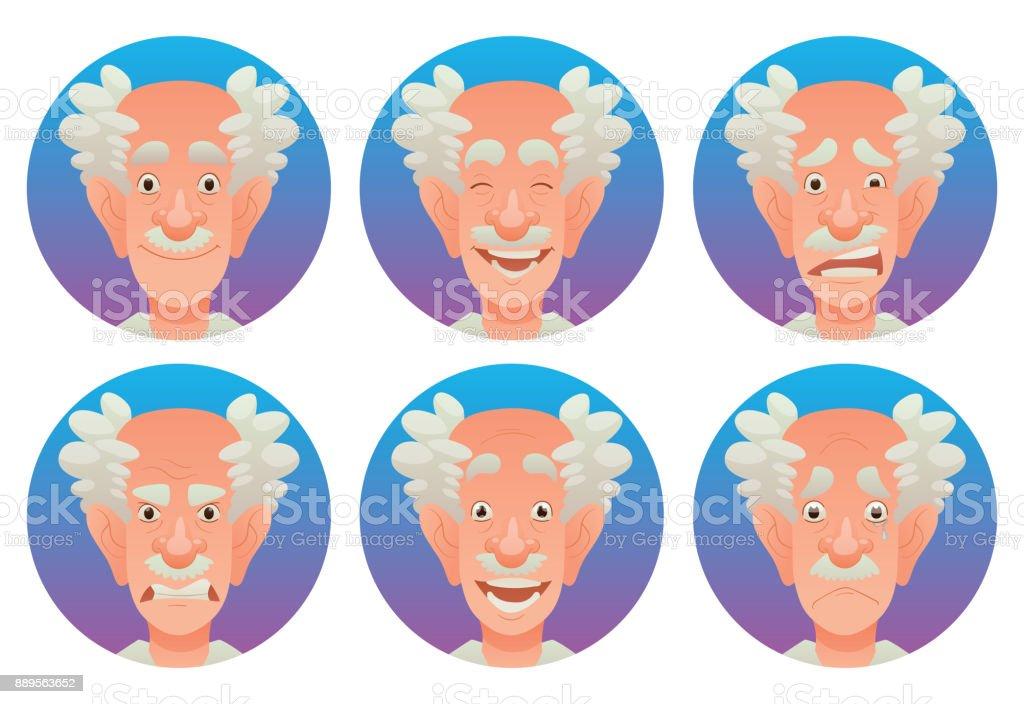 Conjunto De Marcos Redondeos Con Las Emociones Faciales De Ancianos ...