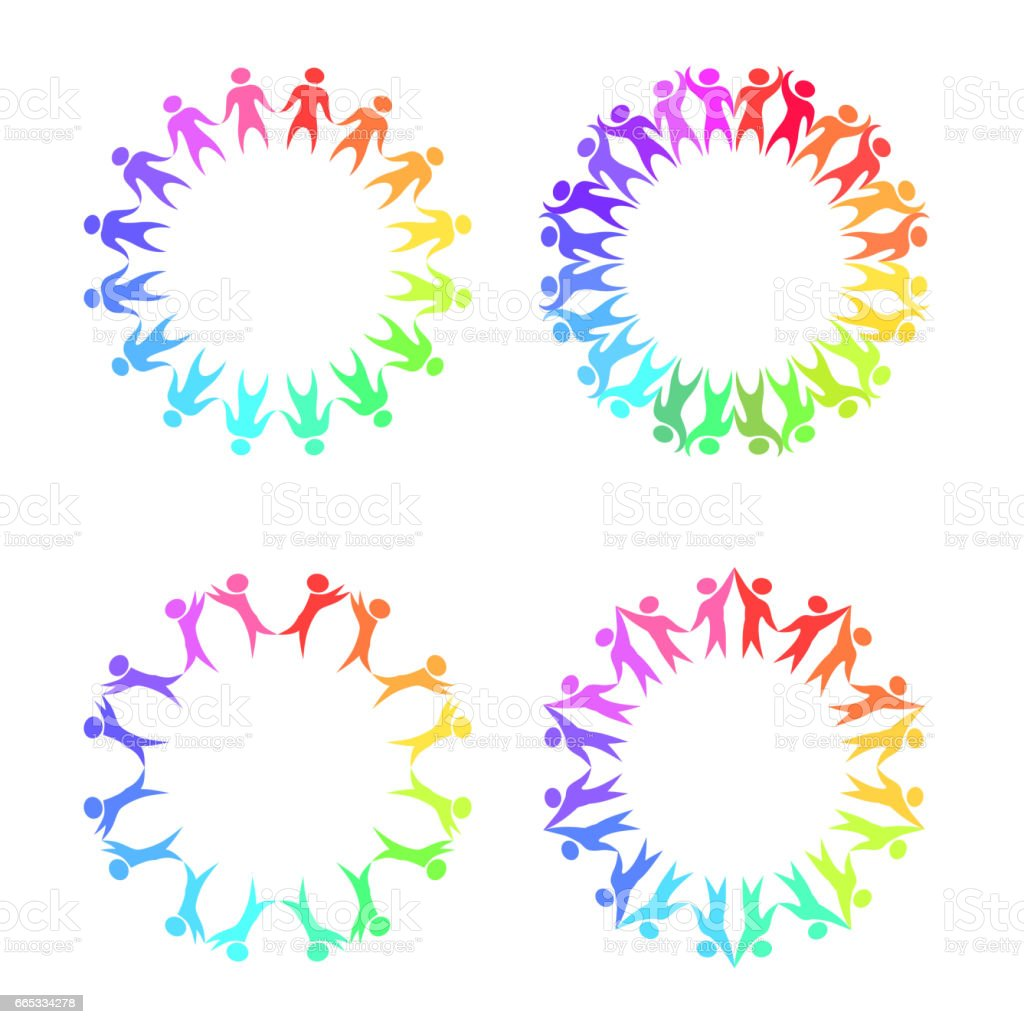 Set Of Round Frames With Rainbow People Holding Hands Vector Element ...