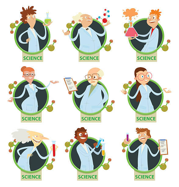 set of round frames with scientists - old man funny cartoon stock illustrations, clip art, cartoons, & icons