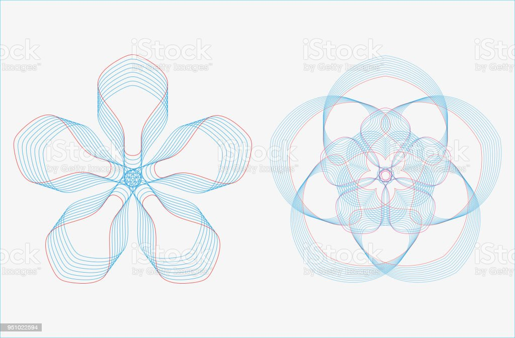 Ilustración de Conjunto De Curvas Geométricas Redondeos En Tono ...