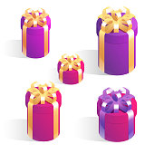 Set of round gift boxes. Isometric vector icons with golden bows isolated on white background.
