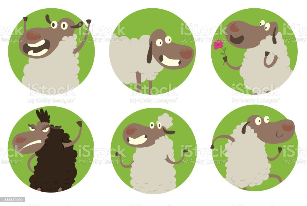 Set Of Round Green Frames With Funny Sheeps stock vector art ...
