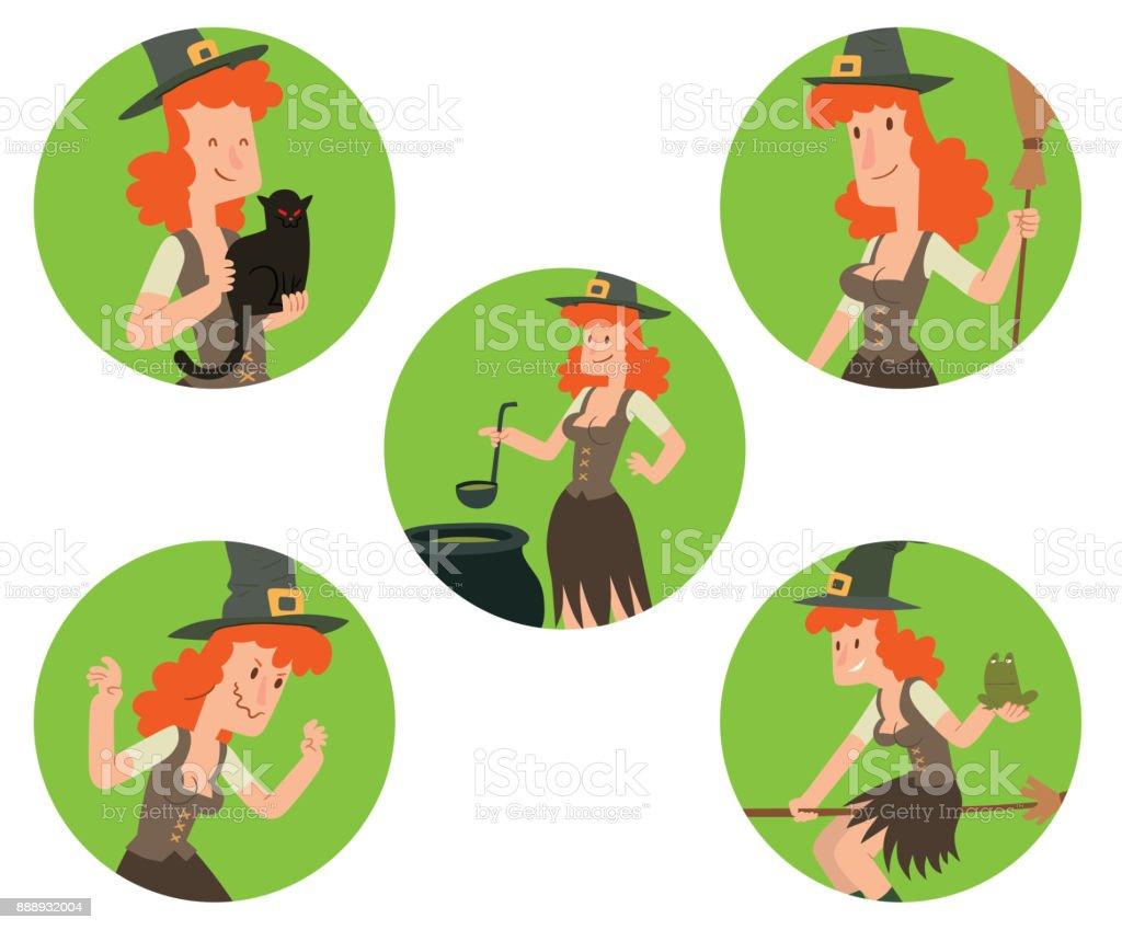 Ilustración de Conjunto De Marcos Redondeos Verdes Con Brujas ...