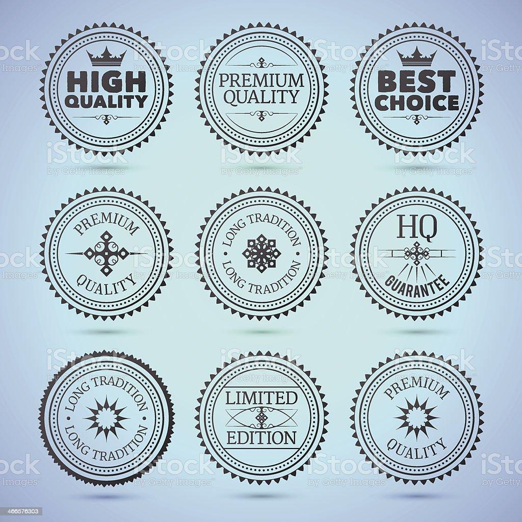 Set of round hollow badges vector art illustration