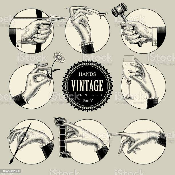 Set of round icons in vintage engraving style with hands and vector id1045332300?b=1&k=6&m=1045332300&s=612x612&h=weufj6kjwppw8cuvayvwneergsmobpdhl9lrwexuaka=
