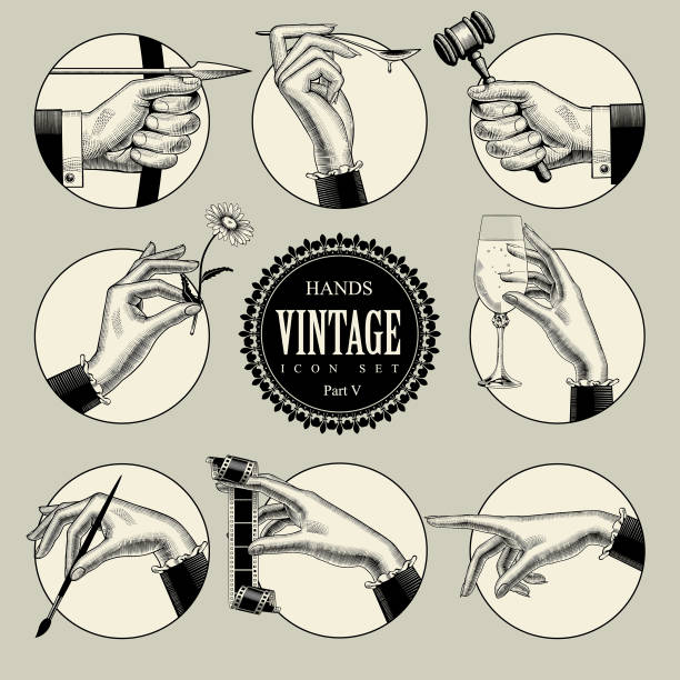 set of round icons in vintage engraving style with hands and accessories - alcohol drink drawings stock illustrations