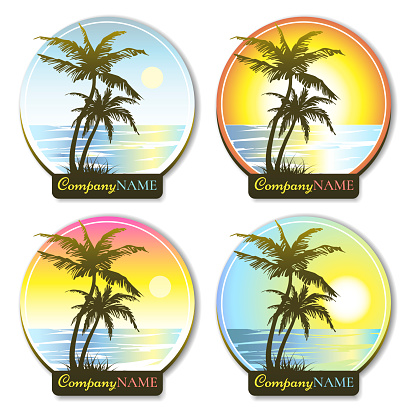Set of round icons with palm tree silhouette. Paradise island. Stickers with palms and sunset. Design elements. Logo design.