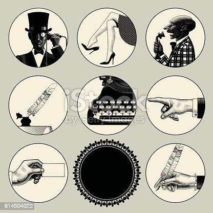 Set of round images in vintage engraving style with body parts and accessories. Retro business concept. Vector illustration