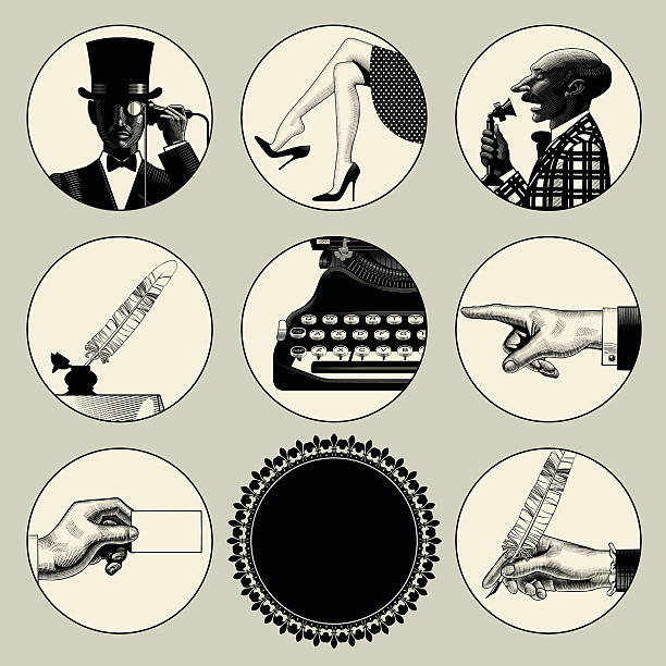 Set of round images in vintage engraving style - Illustration vectorielle