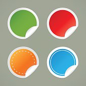 Set of labels of various colors.