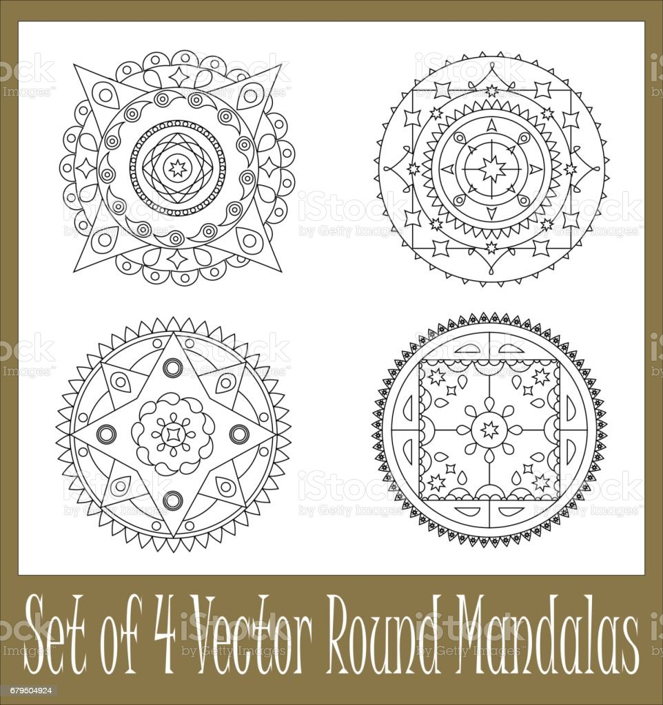 Set Of Round Mandala Vector Ornament For Coloring And For Graphic