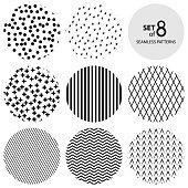Set of Round Monochrome Seamless Patterns