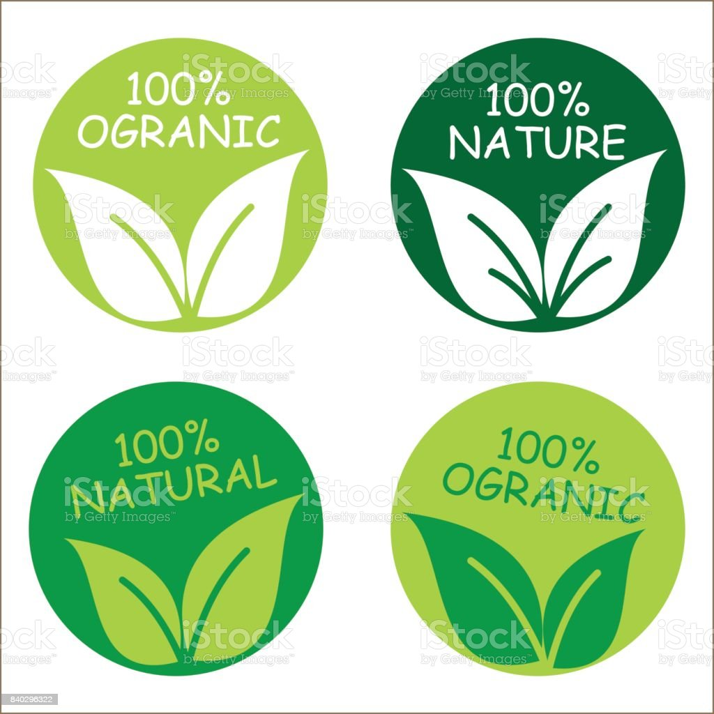 Set of round natural or organic logos with leaves vector art illustration