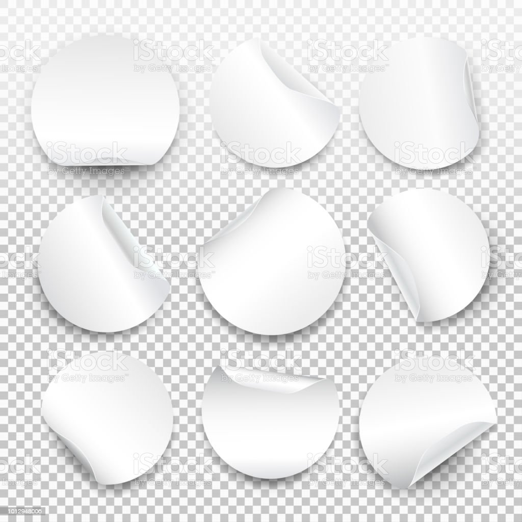 Set Of Round Paper Sticker Template With Bent Edge With