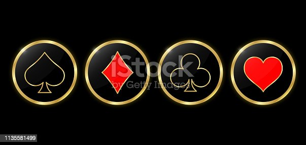 Set of round poker and casino icons. Suit golden deck of playing cards in the gold circle on black background. Vector illustration.