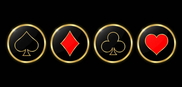 Set of round poker and casino icons. Suit golden deck of playing cards in the gold circle on black background. Set of round poker and casino icons. Suit golden deck of playing cards in the gold circle on black background. Vector illustration. gambling chip stock illustrations