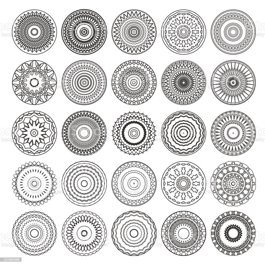 set of round vector mandalas vector art illustration