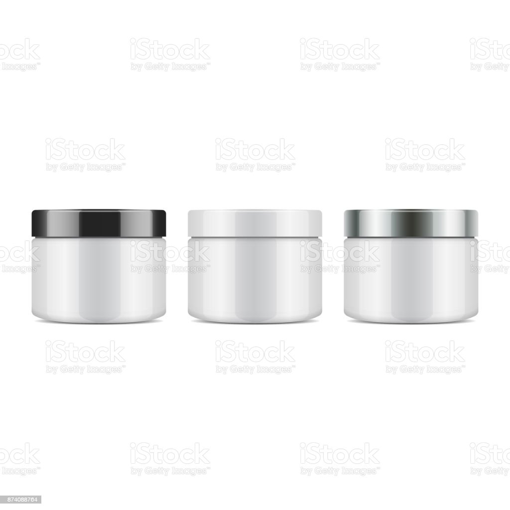 Set of round white plastic jar with lid for cosmetics. Vector mockup template vector art illustration