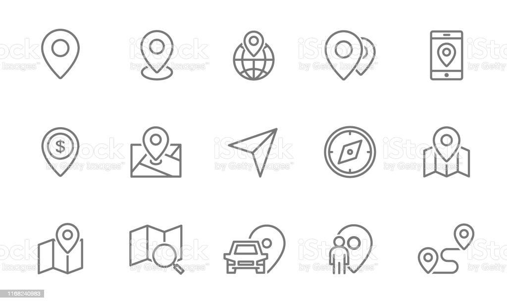 Set route-en navigatie lijn pictogrammen. Kaartwijzer, GPS, kompas, parkeer PIN, richting en meer. - Royalty-free Aankomst vectorkunst