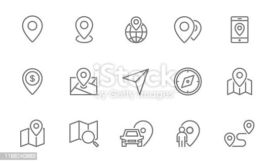 Set of route and navigation line icons. Map pointer, gps, compass, parking pin, direction and more. Isolated on white background