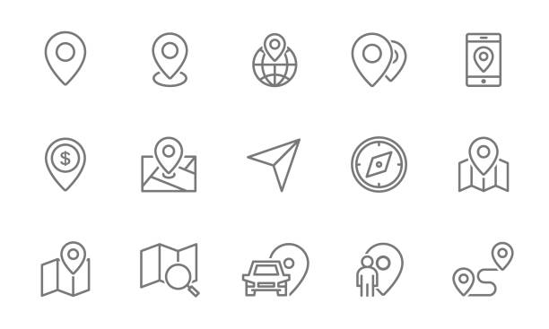 illustrazioni stock, clip art, cartoni animati e icone di tendenza di set of route and navigation line icons. map pointer, gps, compass, parking pin, direction and more. - automotive