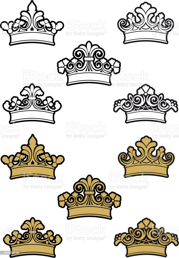 Set of royal crowns royalty-free stock vector art