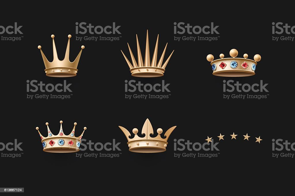 Set of royal gold crown and five stars icons vector art illustration