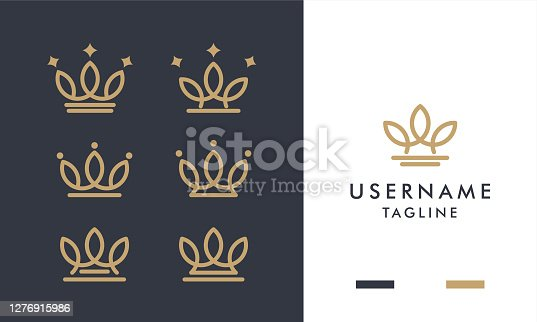 Set of royal gold crowns icon and logo design with line art style