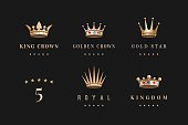 Set of royal gold crowns icon and logo
