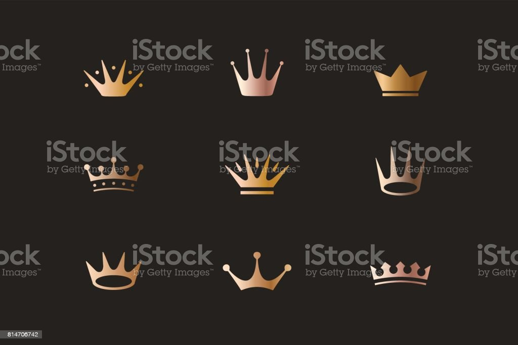Set of royal gold crowns, icons and logos