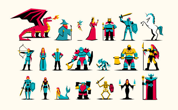 set of rpg medieval fantasy characters isolated - fantasy stock illustrations