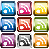 Set of rss buttons, multicolored, vector illustration