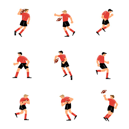 Set of rugby team player characters in different action poses. Vector illustration in flat cartoon style.