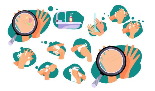 satz von regeln, wie man die hände zu waschen - hände wasser waschen stock-grafiken, -clipart, -cartoons und -symbole