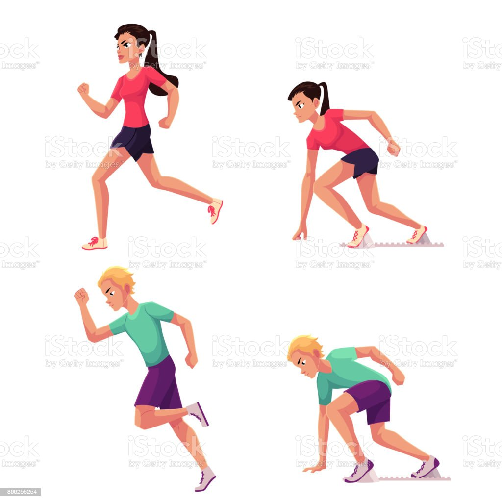 Set of runners, male and female, running and starting vector art illustration