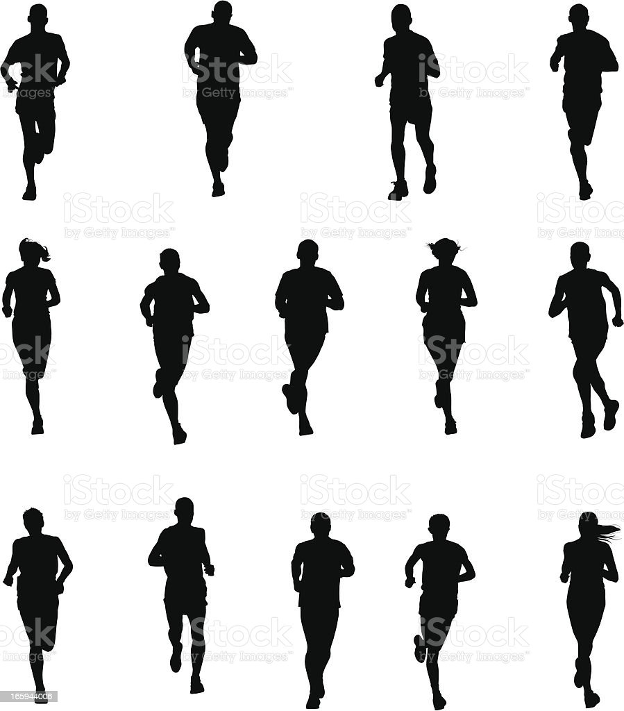 Set of Runners vector art illustration