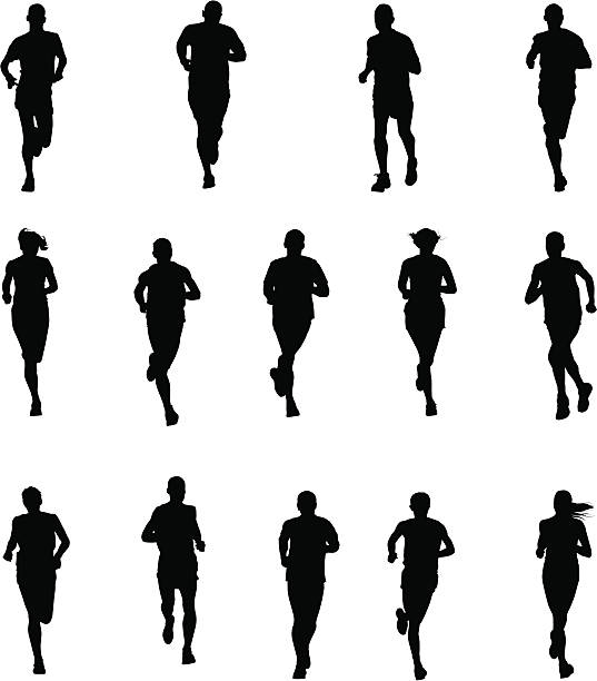 set of runners - running stock illustrations