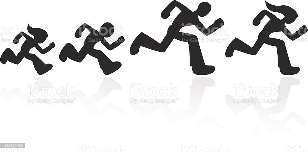 Set of running people royalty-free stock vector art