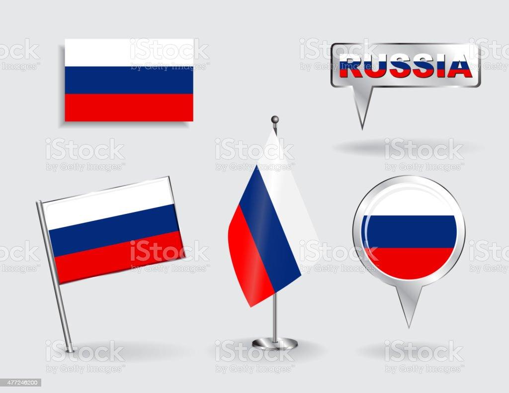 Ensemble de Russian pin, icône de pointeur de carte et drapeaux. Vecteur - Illustration vectorielle