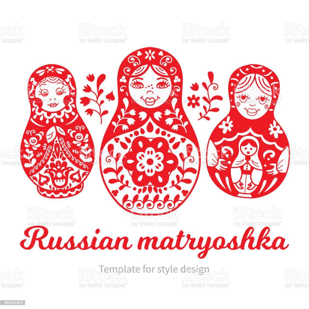 Set of Russian traditional nested dolls (matryoshka). vector art illustration