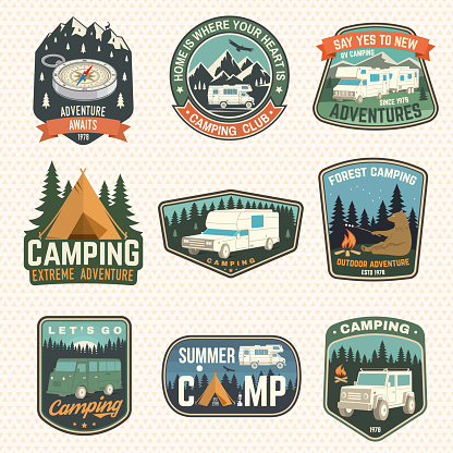 Set of rv camping badges, patches. Vector. Concept for shirt or logo, print, stamp or tee. Vintage typography design with RV Motorhome, camping trailer silhouette.