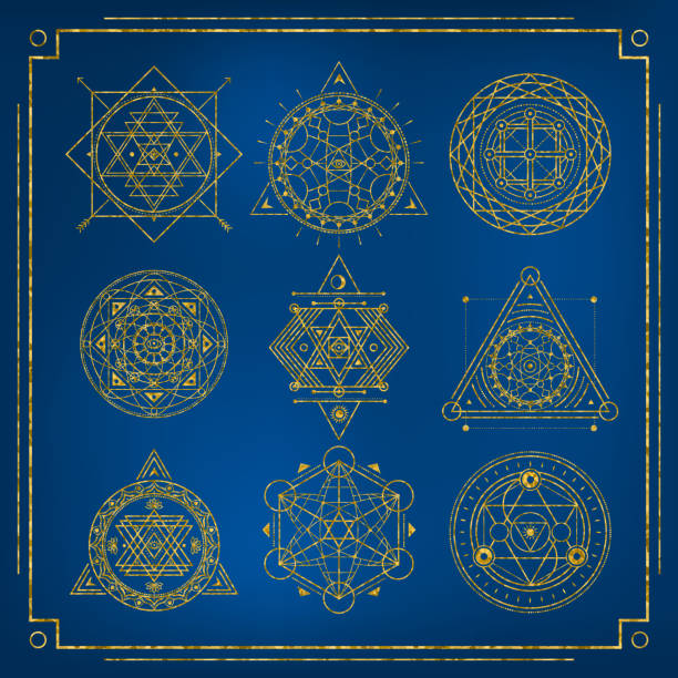 set of sacred geometry golden forms with frame on blue background - freemasons stock illustrations