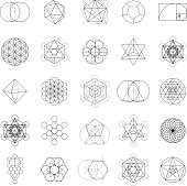 A set of sacred geometric icons. Sacred geometry is the belief that certain shapes prove that God created the universe according to a geometric plan. Download includes an AI10 vector EPS file as well as a high resolution JPEG (3,000 pixels in size).
