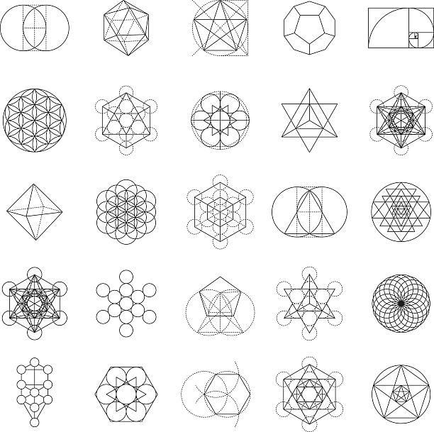 ilustrações, clipart, desenhos animados e ícones de conjunto de ícones de geometria sagrado - organic shapes